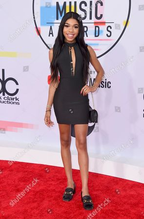 Teala Dunn arrives at the American Music Awards, at the Microsoft Theater in Los Angeles