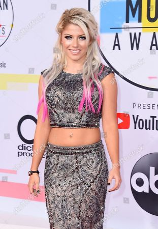 Alexa Bliss arrives at the American Music Awards, at the Microsoft Theater in Los Angeles