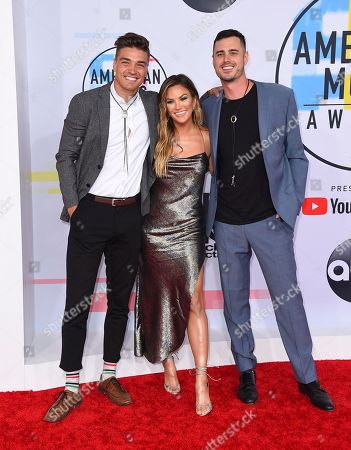 Becca Tilley, Ben Higgins, Dean Michael Unglert. Ben Higgins, from left, Becca Tilley and Dean Michael Unglert arrive at the American Music Awards, at the Microsoft Theater in Los Angeles