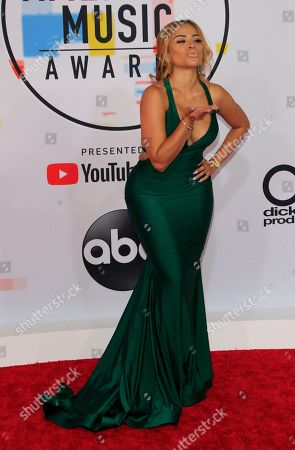Stock Picture of Trinidadian singer Charisse Mills arrives for the 2018 American Music Awards at the Microsoft Theater in Los Angeles, California, USA, 09 October 2018.