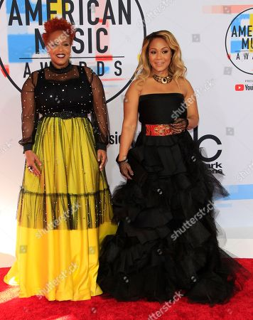 US singers Trecina Atkins-Campbell (L) and Erica Atkins-Campbell (R) of the gospel duo Mary Mary arrive for the 2018 American Music Awards at the Microsoft Theater in Los Angeles, California, USA, 09 October 2018.