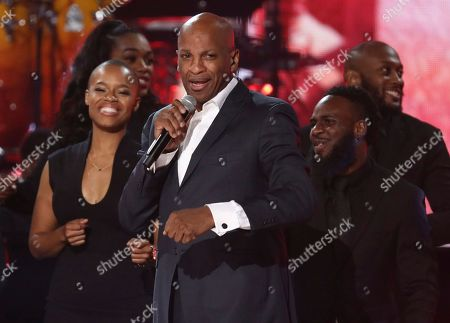"""Stock Photo of Donnie McClurkin performs """"Ain't No Mountain High Enough"""" during a tribute to the late singer Aretha Franklin at the American Music Awards, at the Microsoft Theater in Los Angeles"""