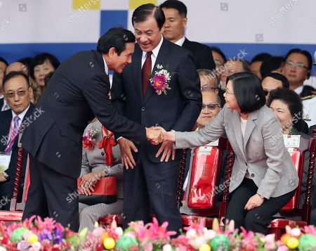Stock Picture of Taiwanese President Tsai Ing-wen (R) and former President Ma Ying-jeou (L) shake hands during the Taiwan National Day celebrations in Taipei, Taiwan, 10 October 2018. National Day in Taiwan commemorates the start of the Wuchang Uprising, which took place on 10 October 1911. The uprising led to the collapse of the Qing Dynasty and imperial rule in China, as well as the establishment of the government of the Republic of China, which governed mainland China until the end of the Chinese Civil War in 1949.