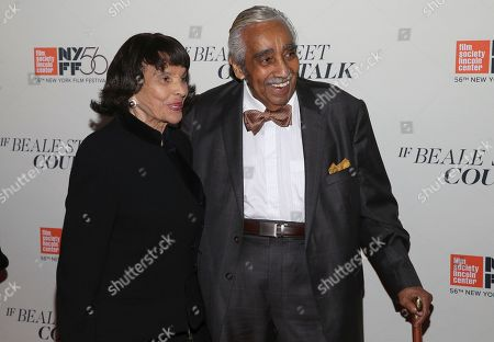 """Alma Rangel, Charles Rangel. Alma Rangel and Charles Rangel attend the """"If Beale Street Could Talk"""" premiere during the 56th New York Film Festival at the Apollo Theater, in New York"""