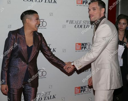 """Emily Rios, Ed Skrein. Actors Emily Rios and Ed Skrein attend the """"If Beale Street Could Talk"""" premiere during the 56th New York Film Festival at the Apollo Theater, in New York"""