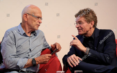 German investigative journalist and writer Guenter Wallraff (L) and managing director of the German Publishers and Booksellers Association Alexander Skipis attend the panel discussion 'The free word under pressure? Self-censorship in Germany' during the book fair 'Frankfurter Buchmesse 2018', in Frankfurt am Main, Germany, 10 October 2018. The 70th edition of the international Frankfurt Book Fair, described as the 'world's most important fair for the print and digital content business' runs from 10 to 14 October and gathers authors, writers and celebrities from all over the world. This year's Guest of Honor country is Georgia.