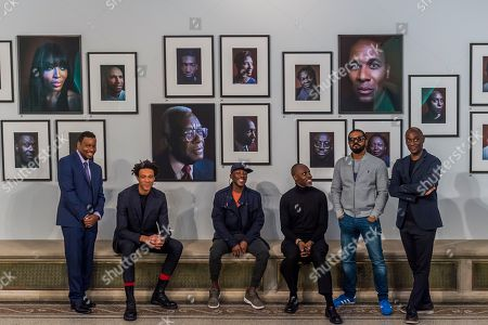 Stock Photo of Terry Jervis, Charlie Casely-Hayford, Shevell Dynott, Simon Frederick (artist), Noel Clarke and Ekow Eshun - Black is the New Black: Portraits by Simon Frederick at National Portrait Gallery, London, the Gallery's largest acquisition of portraits of Afro-Caribbean (on display until 27 January 2019).