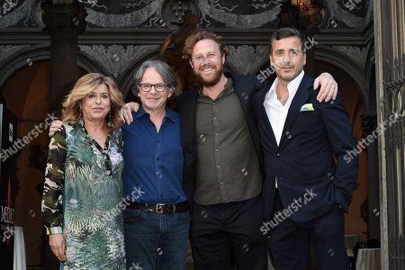 Stock Image of Director Jan Maria Michelini, Frank Spotnitz and producers Luca, Matilde Bernabei