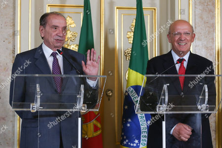 Portuguese Minister for Foreign Affairs, Augusto Santos Silva (R), and his brazilian  counterpart, Aloysio Nunes (L), duing a joint press conference before a meeting in Lisbon, Portugal, 10 October 2018.