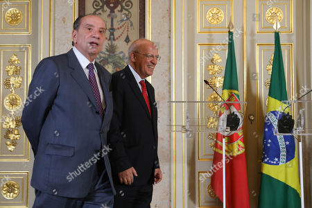 Portuguese Minister for Foreign Affairs, Augusto Santos Silva (R), and his brazilian  counterpart, Aloysio Nunes (L), during a joint press conference before a meeting in Lisbon, Portugal, 10 October 2018.
