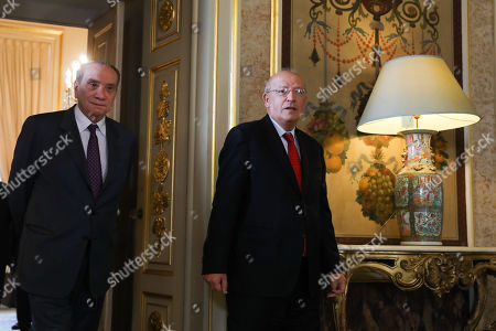 Stock Image of Portuguese Minister for Foreign Affairs, Augusto Santos Silva (R), and his brazilian  counterpart, Aloysio Nunes (L), during a joint press conference before a meeting in Lisbon, Portugal, 10 October 2018.
