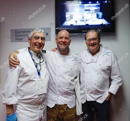 Chefs from the Zuberoa restaurant Jose Mari Arbelaitz and Hilario Arbelaitz (R) pose next to baker Jordi Buton (C) as they take part in the 20th edition of the Gastronomika Congress in San Sebastian, Spain, 10 October 2018. Gastronomika is held from 07 to 10 October 2018.