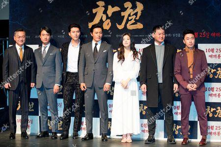 Stock Photo of Kim Ui-Seong, Jo Woo-jin, Hyun Bin, Jang Dong-gun, Lee Sun-Bin, Jung Man-Sik and Jo Dal-Hwan