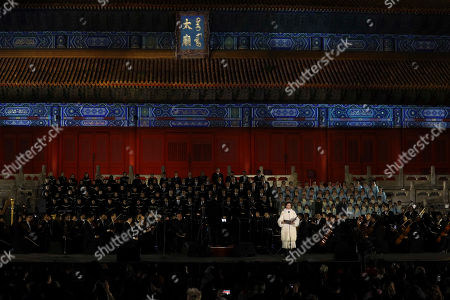 Soprano Aida Garifullina performs at the Deutsche Grammophon's 120th Anniversary Concert held at the Imperial Ancestral Temple of the Forbidden City in Beijing, China