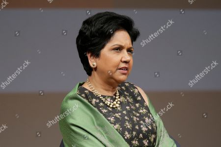 Stock Image of Former PepsiCo CEO Indra Nooyi participates in an event in New York