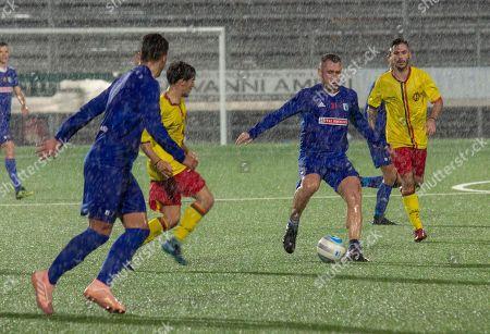 Entella's Antonio Cassano (2R) in action during the friendly soccer match Virtus Entella vs ASD Rivarolese at the Comunale stadium in Chiavari, Italy, 10 October 2018.