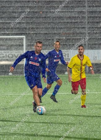 Stock Picture of Entella's Antonio Cassano (L) in action during the friendly soccer match Virtus Entella vs ASD Rivarolese at the Comunale stadium in Chiavari, Italy, 10 October 2018.