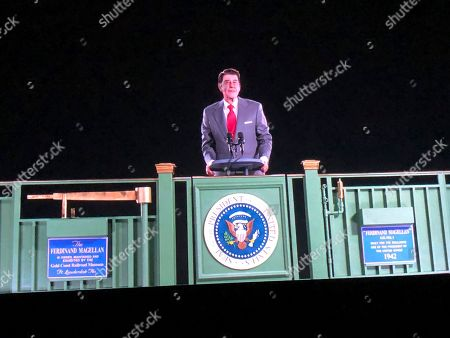 Ronald Reagan, hologram. Former President Ronald Reagan appears on a railcar platform making a speech during a whistle stop on the campaign trail, but as a hologram, on display at the Ronald Reagan Presidential Library in Simi Valley, Calif., . The Reagan Library says it worked with the same Hollywood special effects wizards who helped bring singers Michael Jackson, Maria Callas and Roy Orbison back to life on stage. Officials say the goal is to allow visitors to see Reagan back in the Oval Office, campaigning or at his beloved ranch