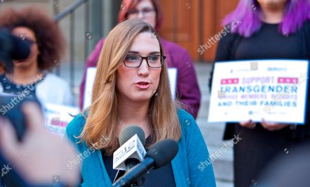 Sarah McBride, National Press Secretary for the Human Rights Campaign speaks to reporters after appearing before the U.S. Court of Appeals for the Ninth Circuit to urge the court to uphold a district court ruling barring implementation of the Trump Administration's effort to ban transgender people from serving openly in the U.S. Armed Services, in Portland, Ore