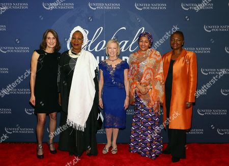 Pictured from left to right: Elizabeth Cousens, Deputy CEO of the United Nations Foundation, Catherine Samba-Panza, former and first female President of the Central African Republic, UN Foundation's President and CEO Kathy Calvin, United Nations Deputy Secretary-General Amina J. Mohammed and United Nations Foundation Board Member, Baroness Valerie Amos, at the 2018 Global Leadership Awards Dinner on in New York. The dinner recognizes leaders who have helped tackle the world's most pressing challenges