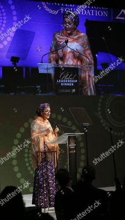 United Nations Deputy Secretary-General Amina J. Mohammed pays tribute to the late Kofi Annan, former U.N. Secretary-General and United Nations Foundation Board Member, at the 2018 Global Leadership Awards Dinner on in New York. The dinner recognizes leaders who have helped tackle the world's most pressing challenges