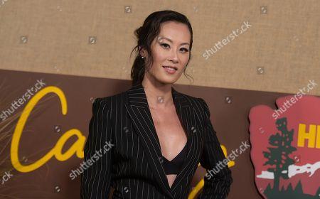 "Olivia Cheng arrives at the Los Angeles premiere of ""Camping"", at Paramount Studios"