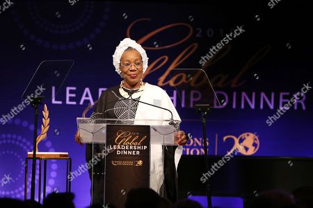 Catherine Samba-Panza, former and first female president of the Central African Republic, introduces UN Peacekeepers at the UN Foundation's Global Leadership Dinner on in New York. The dinner recognizes leaders who have helped tackle the world's most pressing challenges
