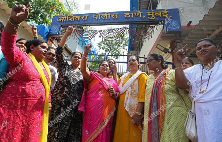 Activists from women wing of Congress party shouts slogans during a protest outside Oshiwara Police Station and demand arrest of Bollywood actor Nana Patekar, in Mumbai, India, 11 October 2018. According to reports, Bollywood actress Tanushree Dutta filed complaint of sexual harassment against actor Nana Patekar. Women wing of Congressparty show their support #MeToo movement where women sharing incidents of sexual assault and harassment.