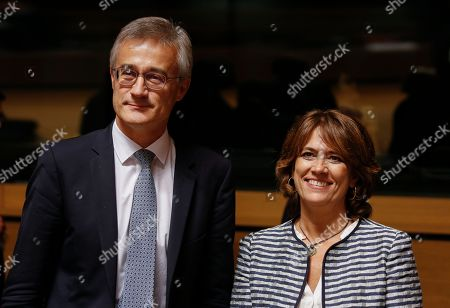 Luxembourg Minister of Justice Felix Braz (L) and Spanish Justice Minister, Dolores Delgado (R) at the start of the Justice Council meeting in Luxembourg, 11 October 2018. The Council is expected to adopt a general approach on the directive on insolvency, restructuring and second chance.
