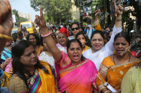 Activists of Congress party's women's wing shout slogans against Bollywood actor Nana Patekar during a protest in support of former Bollywood actress Tanushree Dutta in Mumbai, India, Thursday, Oct.11, 2018. A social media storm began in September, when Dutta spoke to several Indian TV news channels about her frustration with nothing resulting from a police complaint she filed in 2008 against Patekar for alleged sexual harassment on a Mumbai movie set. The complaint by the retired actress living in the United States could be a tipping point for the country's burgeoning #metoo movement