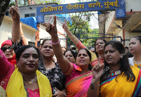 """Activists of Congress party's women's wing shout slogans against Bollywood actor Nana Patekar during a protest in support of former Bollywood actress Tanushree Dutta in Mumbai, India, Thursday, Oct.11, 2018. A social media storm began in September, when Dutta spoke to several Indian TV news channels about her frustration with nothing resulting from a police complaint she filed in 2008 against Patekar for alleged sexual harassment on a Mumbai movie set. The complaint by the retired actress living in the United States could be a tipping point for the country's burgeoning #metoo movement. Signage behind reads, """"Oshiwara Police station, Mumbai"""