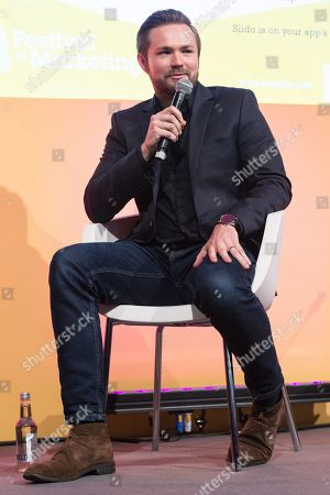 Leon Harlow, brand director of the James Grant Group in conversation at the Festival of Marketing held at Tobacco Dock.