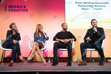 Emma Willis, Amanda Holden, Marvin Humes and Leon Harlow, brand director of the James Grant Group in conversation at the Festival of Marketing held at Tobacco Dock.
