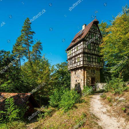 Herzogsstuhl, hunting lodge of Duke Ernst II of Saxony-Altenburg, modelled on the Toppler Castle in Rothenburg ob der Tauber, Rieseneck hunting complex, Hummelshain, Saale-Holzland district, Thuringia, Germany