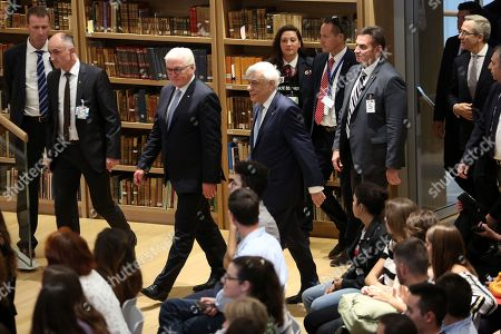 Greek President Prokopis Pavlopoulos (C-L) and President of Germany Frank-Walter Steinmeier (C-R) arrive at the Stavros Niarchos Foundation Cultural Centre to attend the event 'Young people and the Future of Europe' in Athens, Greece, 11 October 2018. The President of Germany is on a two-day official visit to Greece.