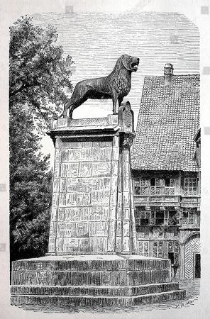 Lion statue erected during the reign of Henry the Lion, Duke of Bavaria and Saxony, Brunswick, 1166, woodcut, Germany