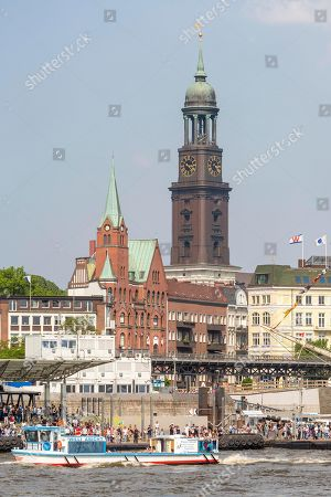 Tower of the Church of St. Michael, Michel, in front of St. Pauli Piers, Port of Hamburg, Hamburg, Germany