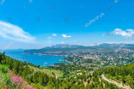 Stock Image of Coast and bay, cliffs, Falaises, Route de Cretes, Cassis, Provence-Alpes-Cote d'Azur, France