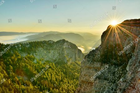 Creux du Van, rock face at sunrise, Le Soliat, canton of Jura, Switzerland