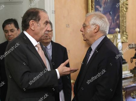 Spanish Foreign Minister, Josep Borrell (R), speaks with his Brazilian counterpart, Aloysio Nunes Ferreira (L), during their meeting at the Palace of Viana in Madrid, Spain, 11 October 2018.