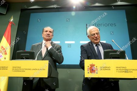 Spanish Foreign Minister, Josep Borrell (R), and his Brazilian counterpart, Aloysio Nunes Ferreira (L), offer a joint press conference following their meeting at the Palace of Viana in Madrid, Spain, 11 October 2018.
