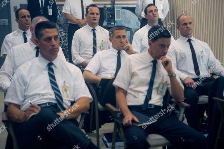 Ethan Embry as Pete Conrad, Jason Clarke as Ed White, Ryan Gosling as Neil Armstrong, Pablo Schreiber as Jim Lovell