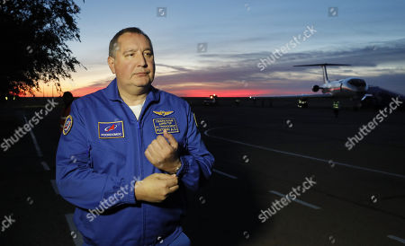 Russian space agency Roscosmos  director general Dmitry Rogozin speaks with the media after a rescue operation for US NASA astronaut Nick Hague and Russian cosmonaut Alexey Ovchinin following their failiure booster launch in Baikonur, Kazakhstan, 11 October 2018. The launch of Soyuz MS-10 rocket booster was interrupted on the third minute due to an accident in the work of the first rocket  engine stage. Both astronauts safety landed. According to reports, Russia has launched a criminal investigation into a failure in Soyuz rocket launch.