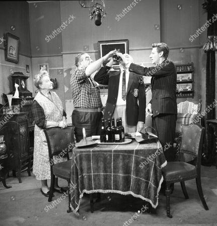 Margot Bryant (as Minnie Caldwell), Bernard Youens (as Stan Ogden), Edward Evans (as Lionel Petty) and Gordon Rollings (as Charliw Moffitt)