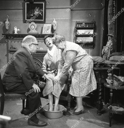 Jack Howarth (as Albert Tatlock), Gordon Rollings (as Charlie Moffitt) and Margot Bryant (as Minnie Caldwell)