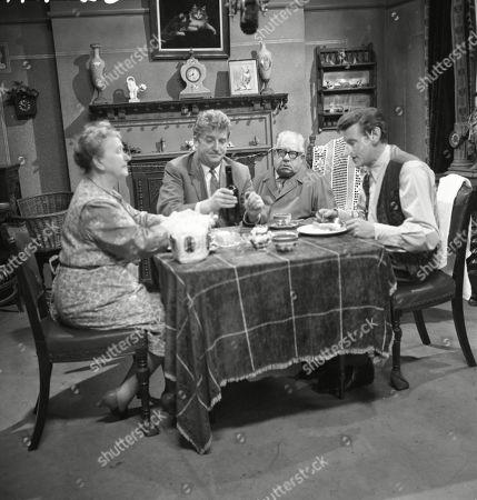 Margot Bryant (as Minnie Caldwell), Peter Adamson (as Len Fairclough), Jack Howarth (as Albert Tatlock) and Gordon Rollings (as Charlie Moffitt)