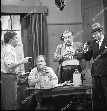 Peter Adamson (as Len Fairclough), Graham Haberfield (as Jerry Booth), Bernard Youens (as Stan Ogden) and Gordon Rollings (as Charlie Moffitt)