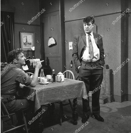 Peter Adamson (as Len Fairclough) and Ivan Beavis (as Harry Hewitt)
