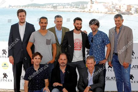 Spanish actor Dani Rovira (3-R), film director Javier Ruiz Caldera (2-L) and cast members pose for photographers during the presentation of the film 'SuperLopez' in the framework of the Sitges International Fantastic Film Festival in Sitges, near Barcelona, northeastern Spain, 11 October 2018. The Sitges Fantastic Film Festival runs from 04 to 14 October 2018.