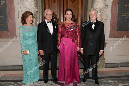 Queen Silvia King and King Carl Gustaf with Birgit Nilsson Prize laureate opera singer Nina Stemme and Rutbert Reisch chairman of Birgit Nilsson foundation at the Royal Opera in Stockholm, Sweden, 11 October 2018.